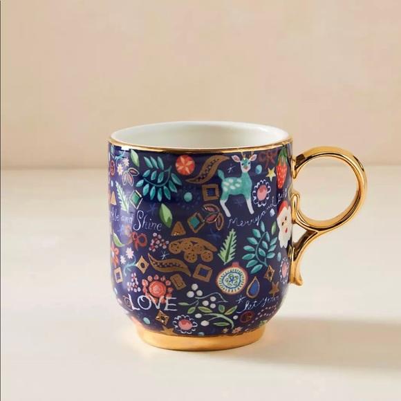 Anthro Danielle Kroll Mug Blue Christmas Cup Coffe